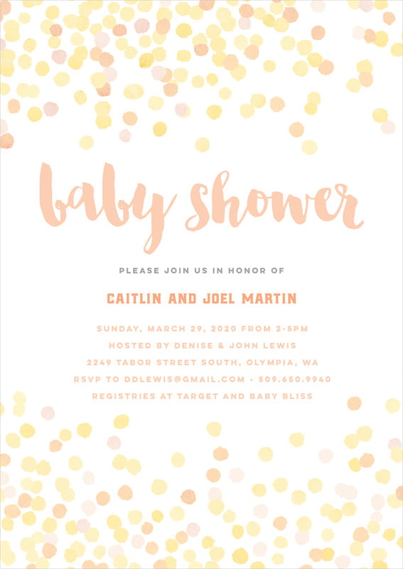 baby shower invitations - sunburst - watercolor confetti (set of 10)