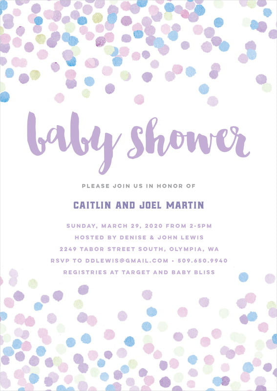 baby shower invitations - lilac - watercolor confetti (set of 10)