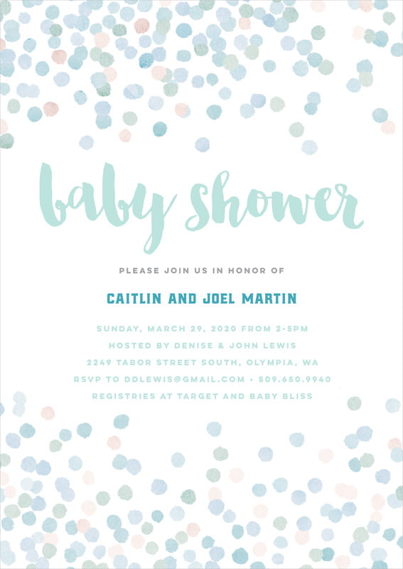 baby shower invitations - sea glass - watercolor confetti (set of 10)