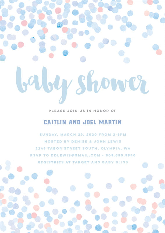 baby shower invitations - rose quartz/serenity - watercolor confetti (set of 10)