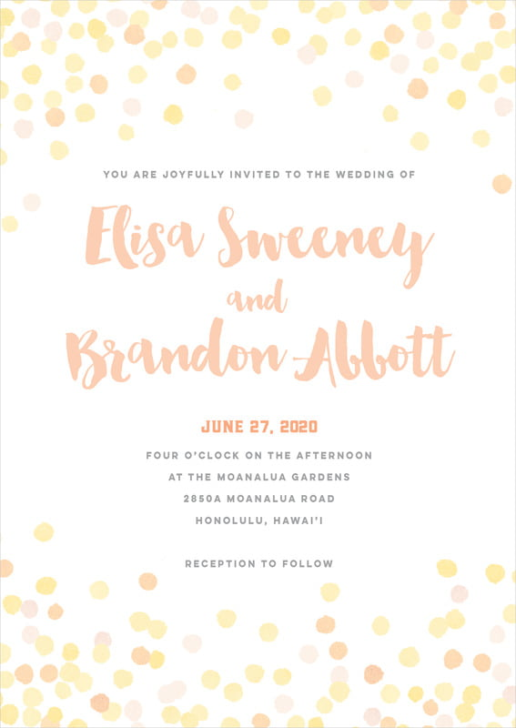 custom invitations - sunburst - watercolor confetti (set of 10)