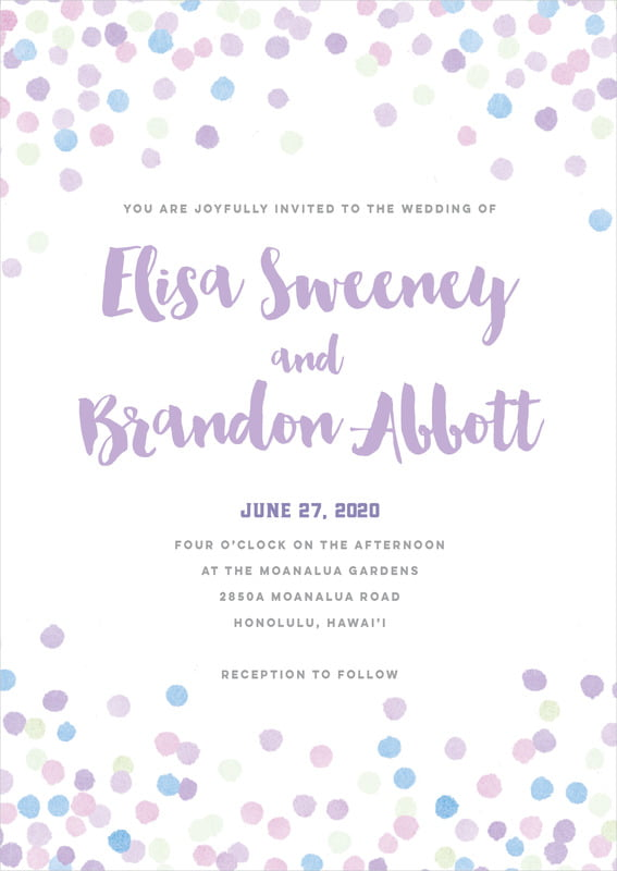 custom invitations - lilac - watercolor confetti (set of 10)