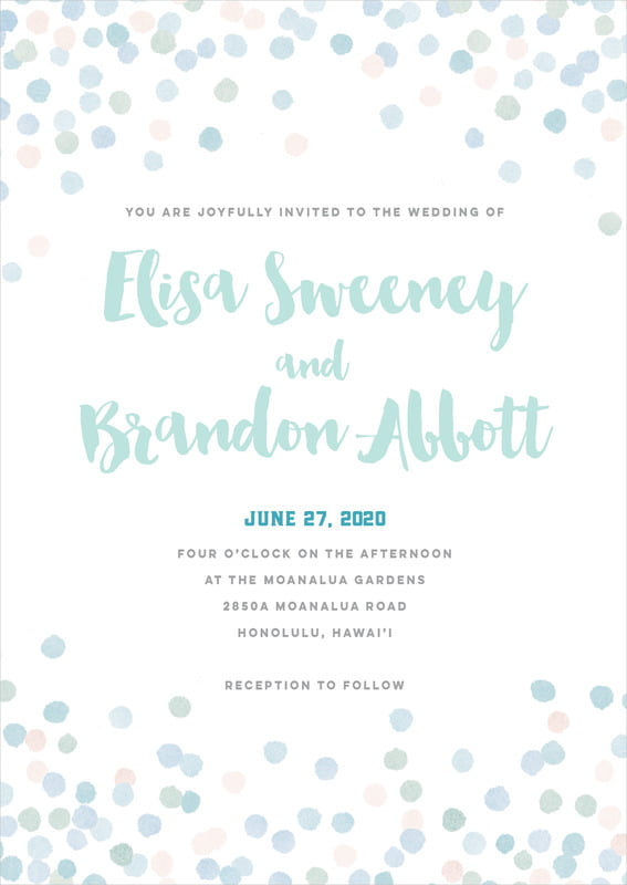 custom invitations - sea glass - watercolor confetti (set of 10)