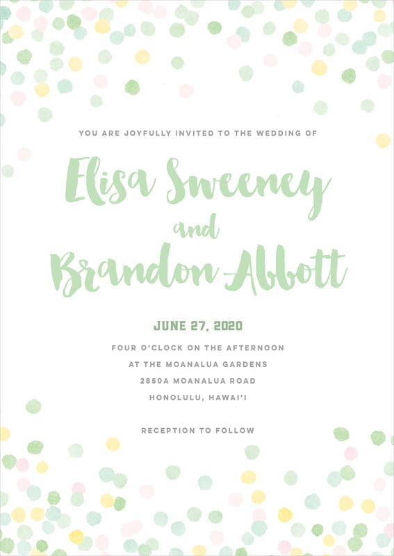 custom invitations - mint - watercolor confetti (set of 10)