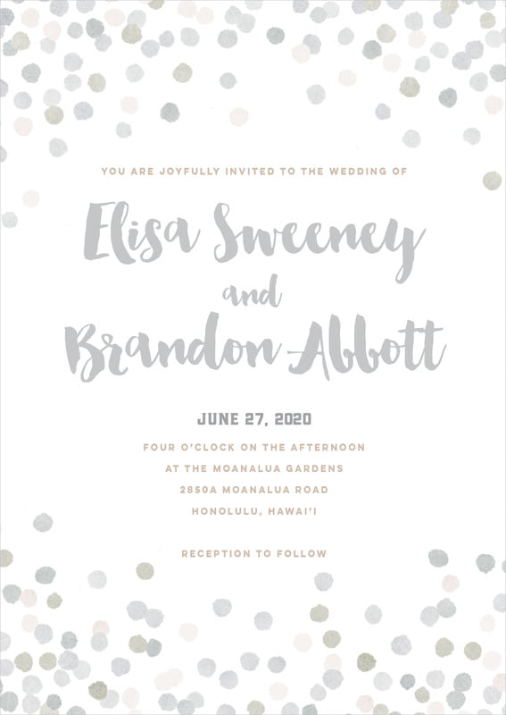 custom invitations - stone - watercolor confetti (set of 10)