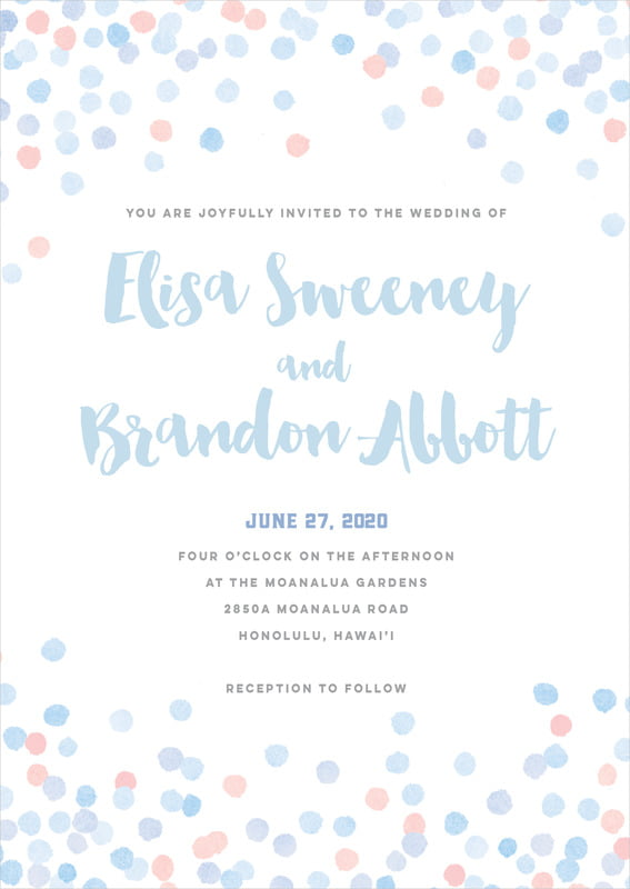 custom invitations - rose quartz/serenity - watercolor confetti (set of 10)