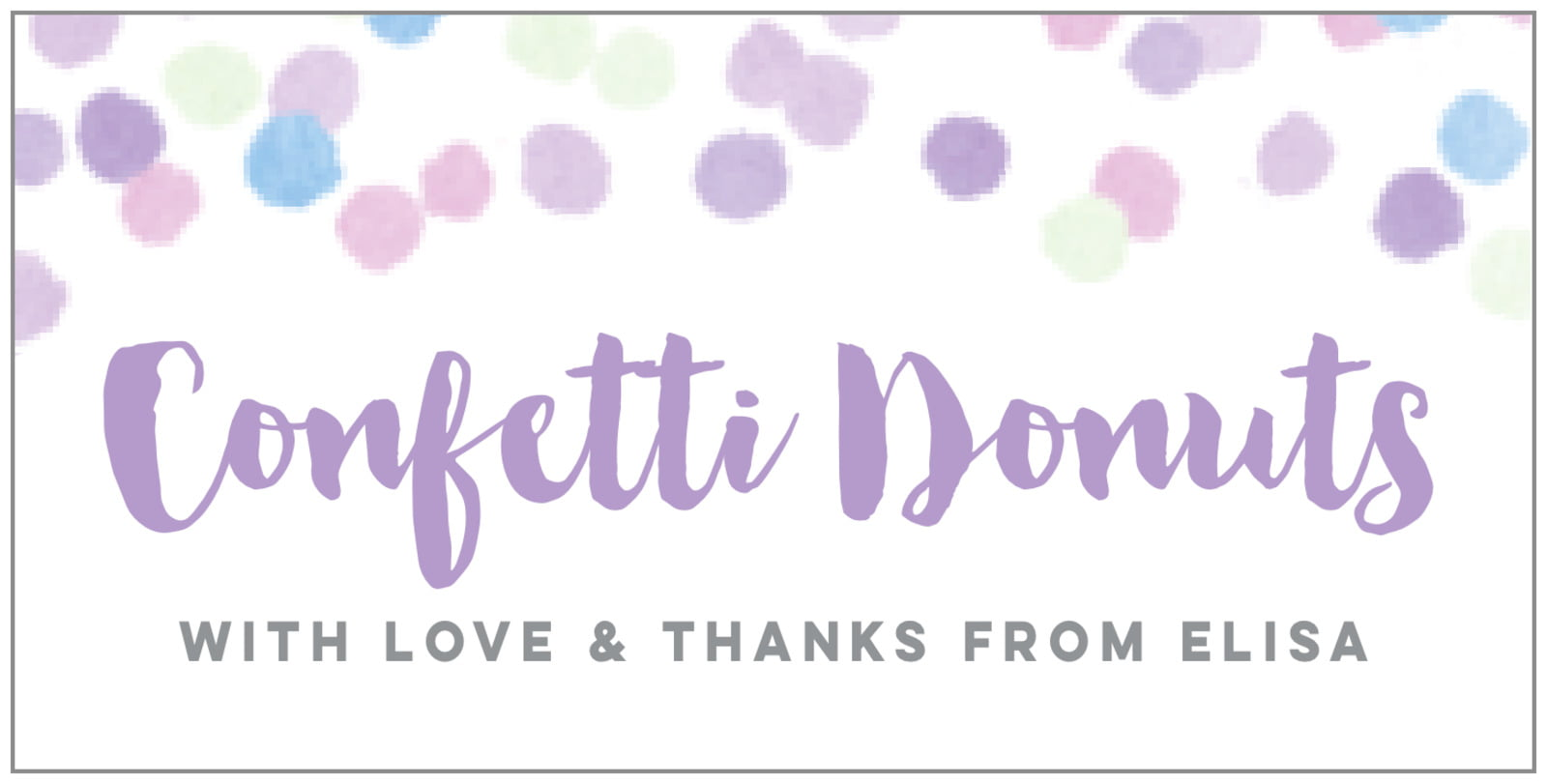 small rectangular food/craft labels - lilac - watercolor confetti (set of 24)