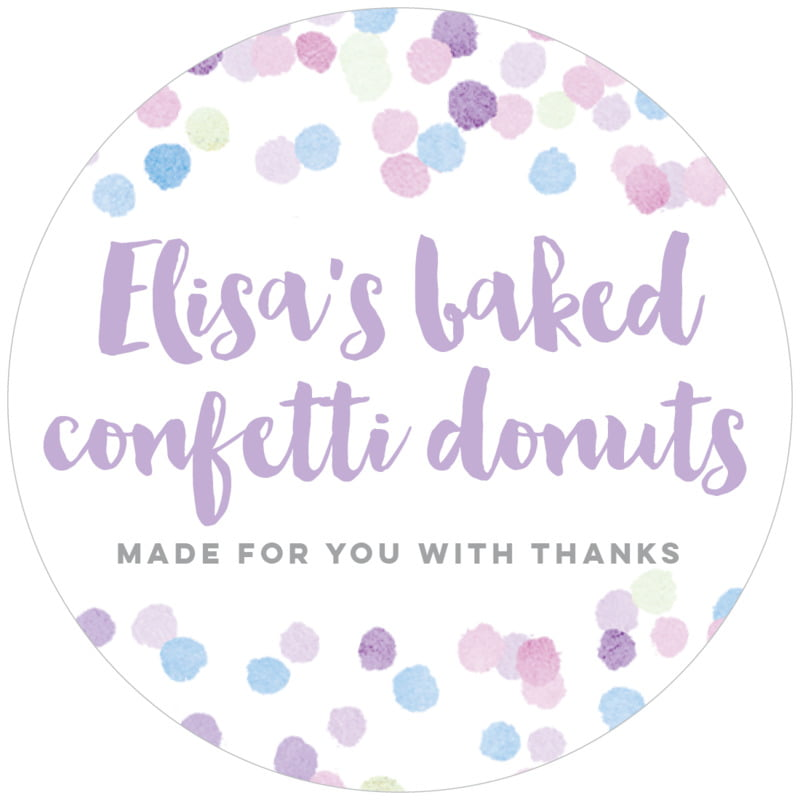 circle food/craft labels - lilac - watercolor confetti (set of 12)
