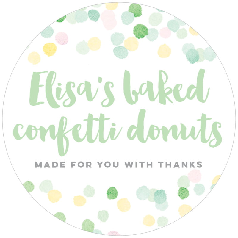 circle food/craft labels - mint - watercolor confetti (set of 12)