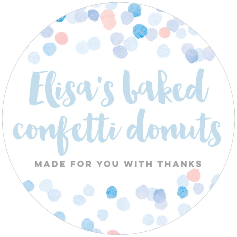 circle food/craft labels - rose quartz/serenity - watercolor confetti (set of 12)