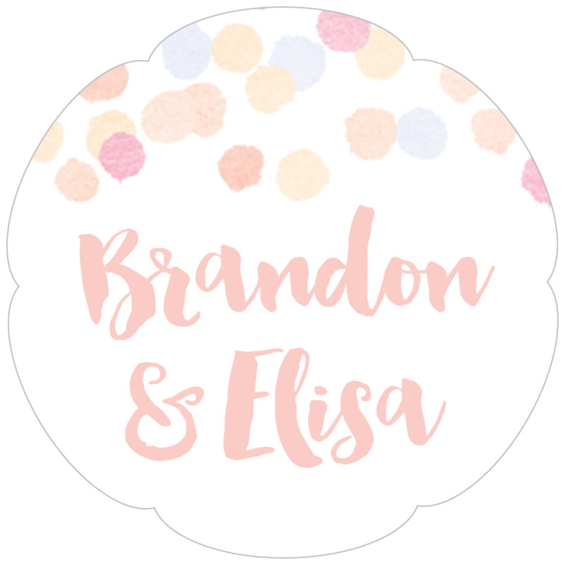 petal food/craft labels - peach - watercolor confetti (set of 30)
