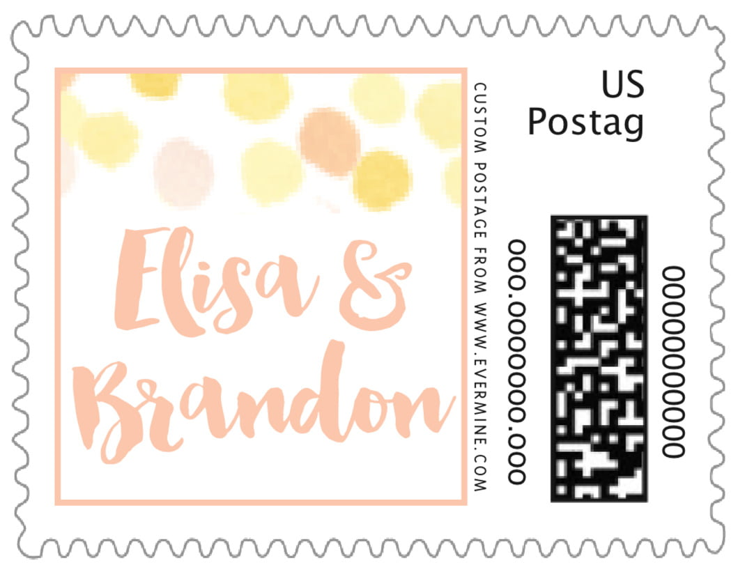 small custom postage stamps - sunburst - watercolor confetti (set of 20)