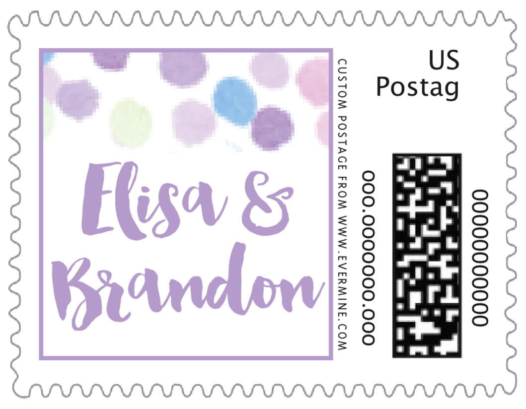 small custom postage stamps - lilac - watercolor confetti (set of 20)