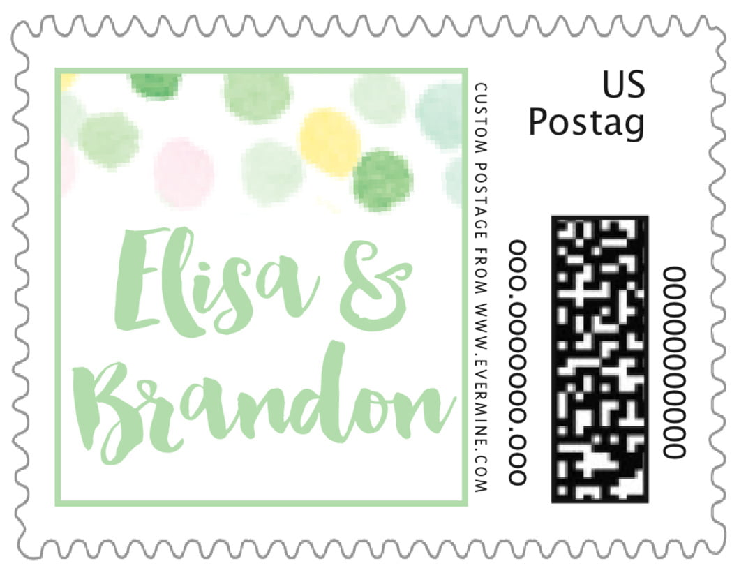 small custom postage stamps - mint - watercolor confetti (set of 20)