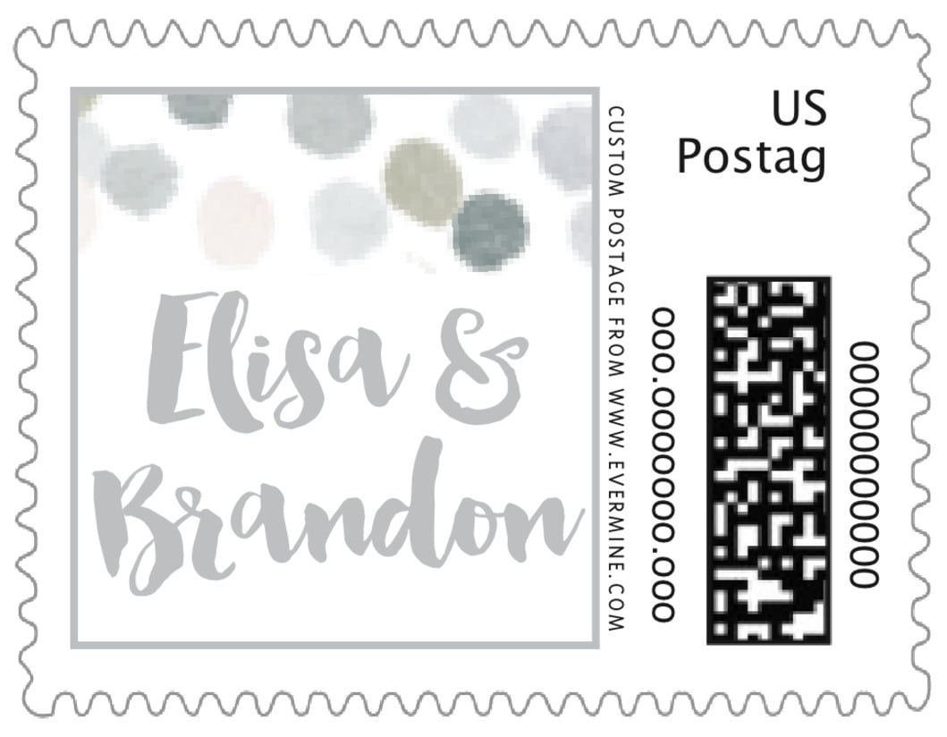 small custom postage stamps - stone - watercolor confetti (set of 20)