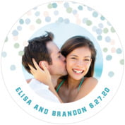 Watercolor Confetti Round Coaster In Sea Glass