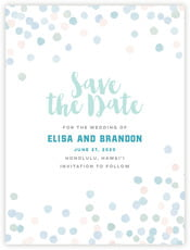 Watercolor Confetti Save The Date Card In Sea Glass