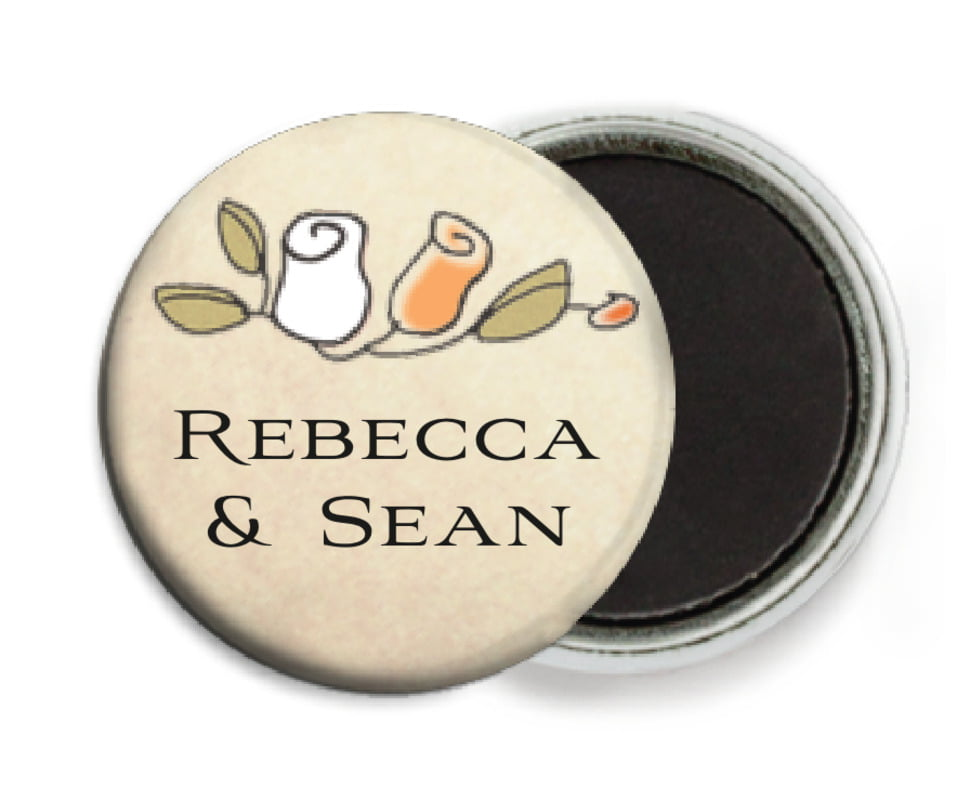 custom button magnets - peach - sweet rose (set of 6)