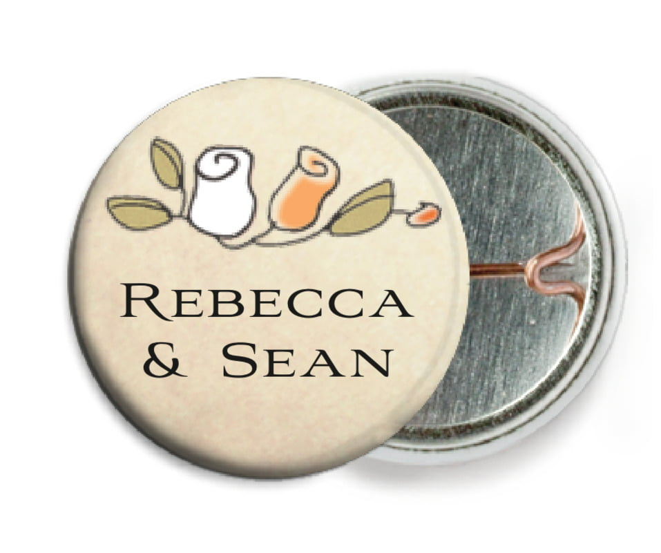 custom pin back buttons - peach - sweet rose (set of 6)