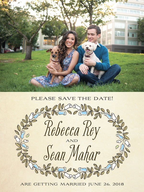 custom tall save the date cards - sky - sweet rose (set of 10)