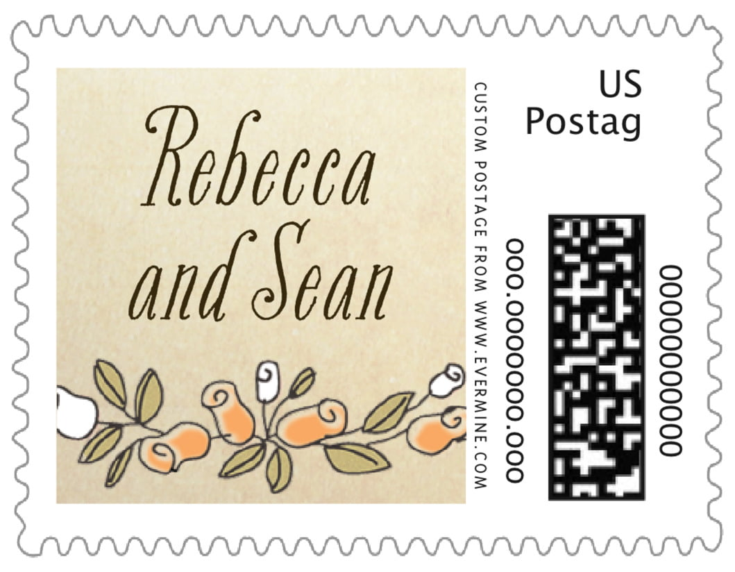 small custom postage stamps - peach - sweet rose (set of 20)