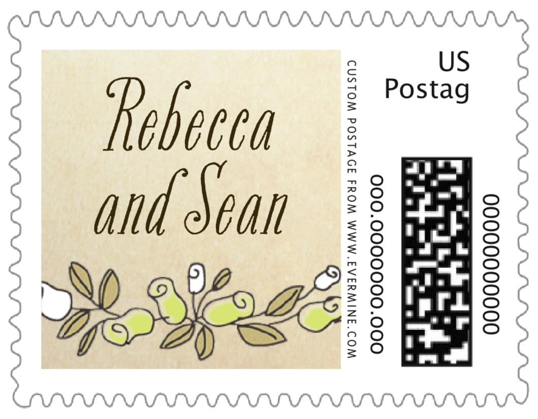 small custom postage stamps - lime - sweet rose (set of 20)