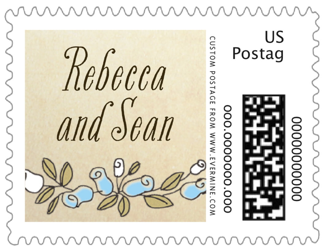 small custom postage stamps - sky - sweet rose (set of 20)