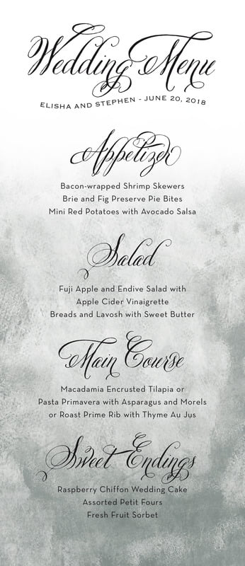 custom menus - charcoal - watercolor clouds (set of 10)
