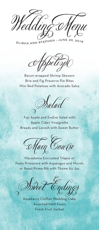 custom menus - aruba - watercolor clouds (set of 10)
