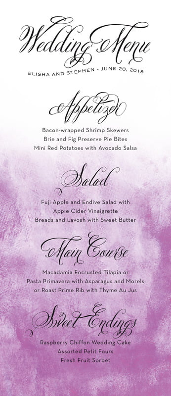 custom menus - radiant orchid - watercolor clouds (set of 10)