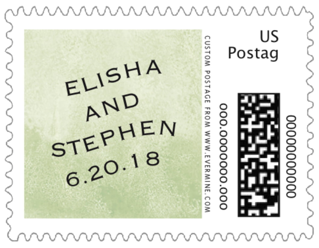 small custom postage stamps - green tea - watercolor clouds (set of 20)