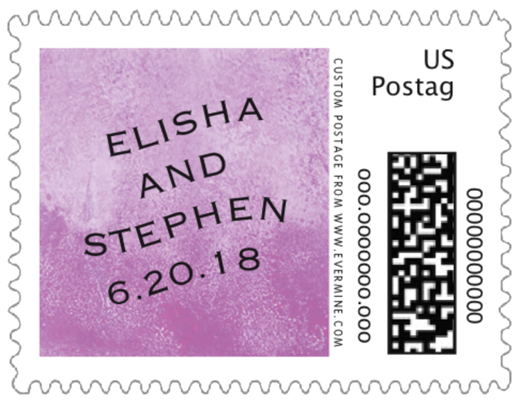 small custom postage stamps - radiant orchid - watercolor clouds (set of 20)