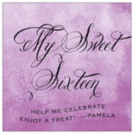 Watercolor Clouds Square Label In Radiant Orchid