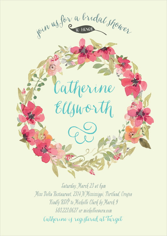 baby shower invitations - apple - watercolor wreath (set of 10)
