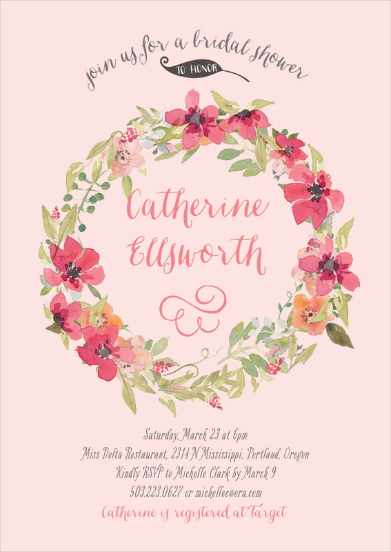 baby shower invitations - grapefruit - watercolor wreath (set of 10)