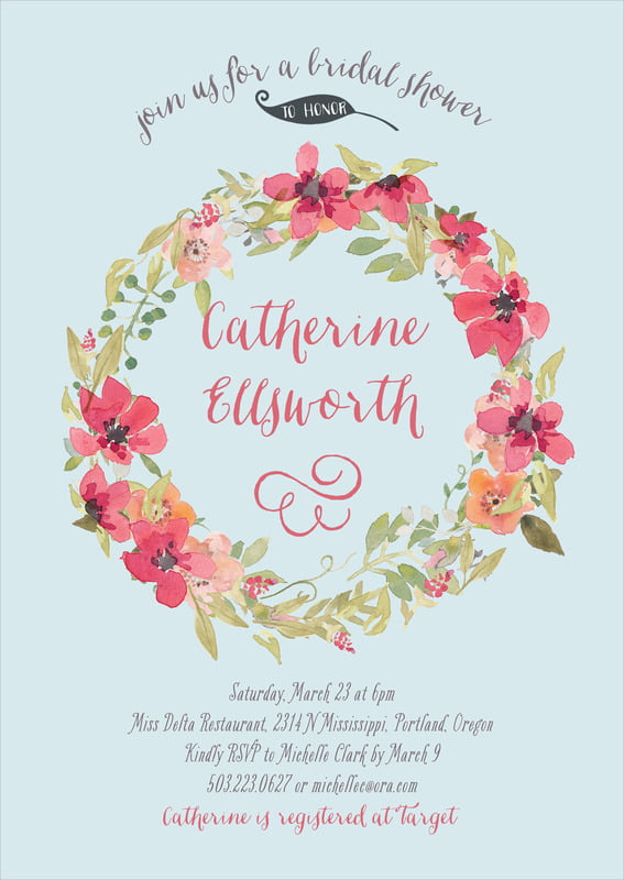 baby shower invitations - blue - watercolor wreath (set of 10)