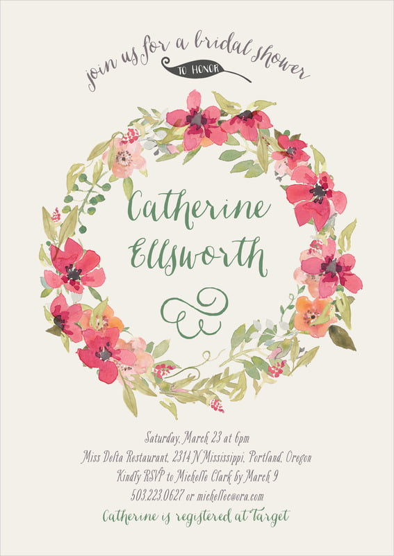 baby shower invitations - champagne - watercolor wreath (set of 10)