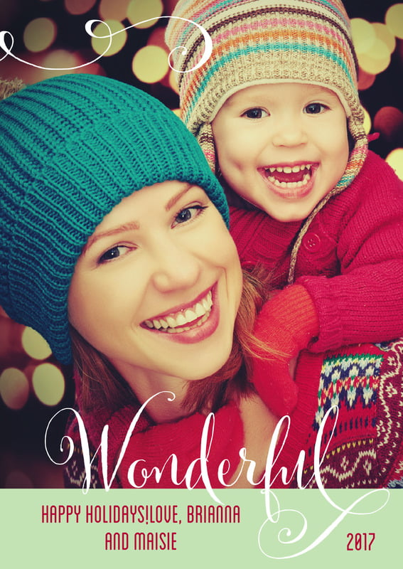 holiday cards - mint - wonderful holiday (set of 10)
