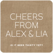 Elements Burlap Square Coaster In Burlap Basic