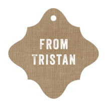 Elements Burlap fancy diamond hang tags