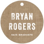 Elements Burlap circle hang tags