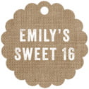 Elements Burlap scallop hang tags