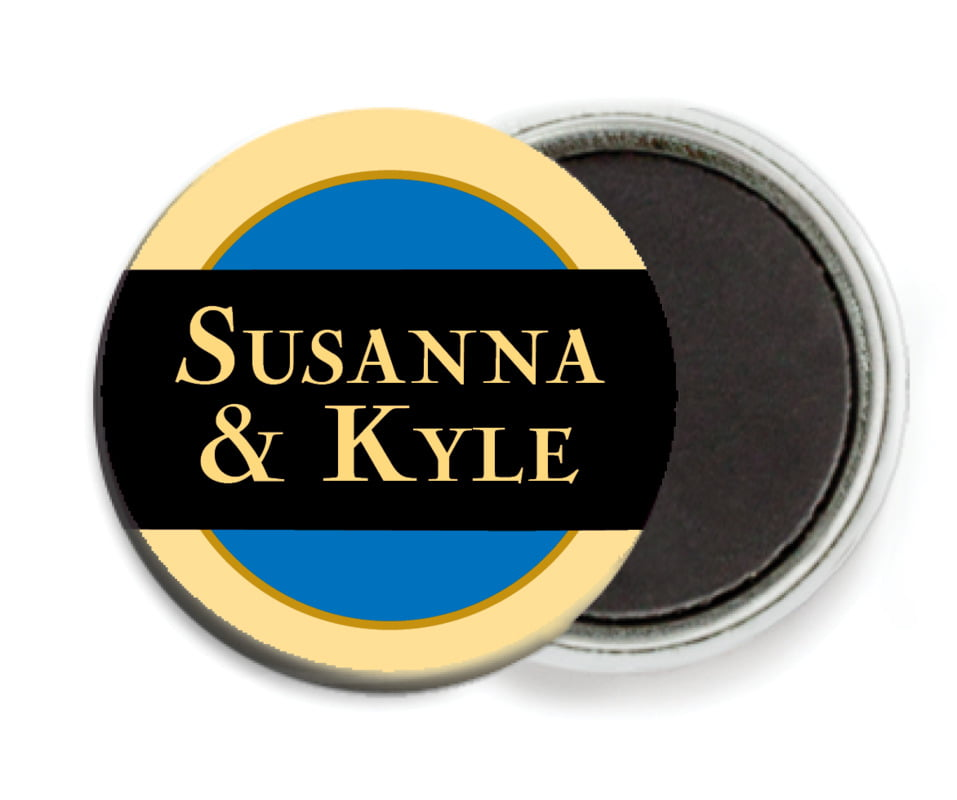 custom button magnets - royal blue & gold - xenith (set of 6)