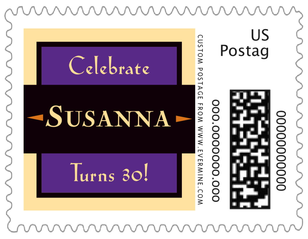 small custom postage stamps - purple - xenith (set of 20)