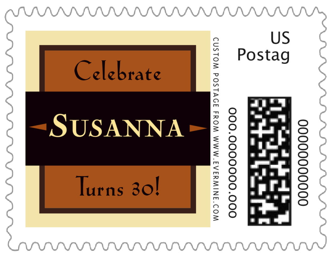 small custom postage stamps - saddle brown - xenith (set of 20)