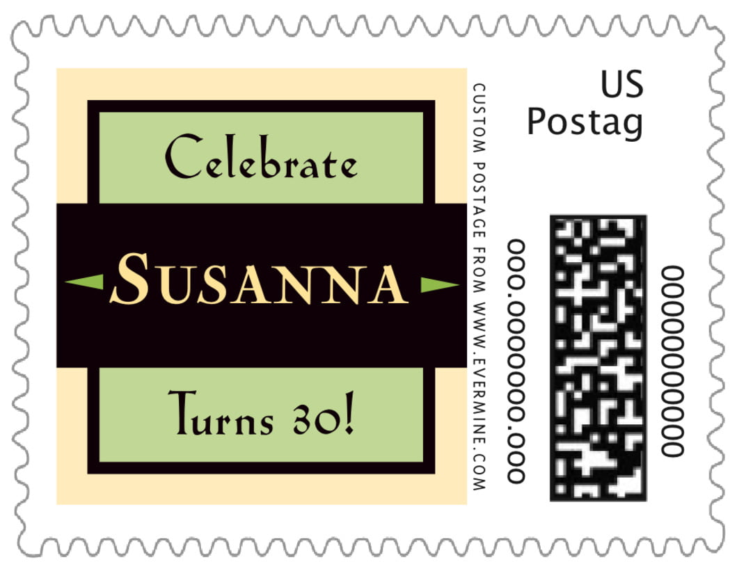 small custom postage stamps - lime & gold - xenith (set of 20)