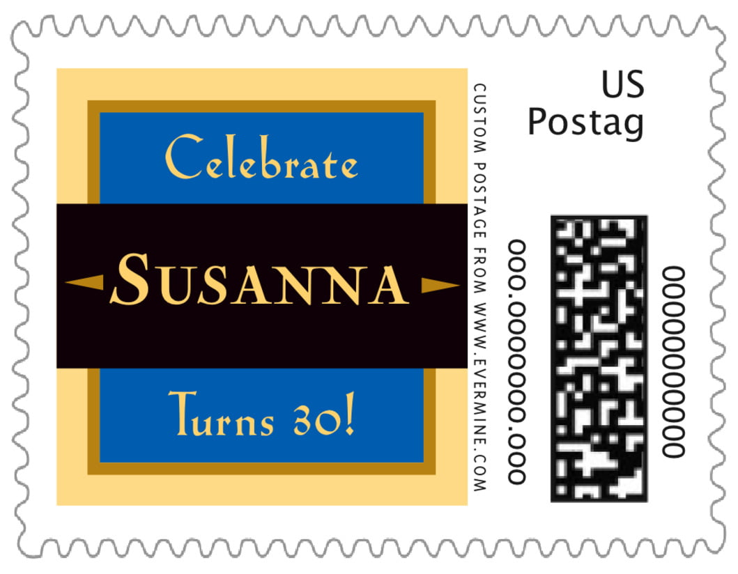 small custom postage stamps - royal blue & gold - xenith (set of 20)