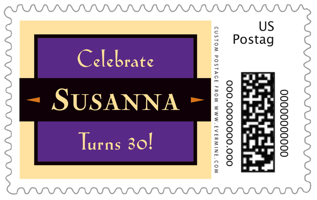 custom large postage stamps - purple - xenith (set of 20)