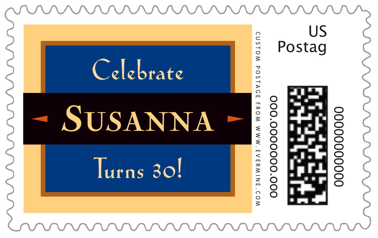 custom large postage stamps - blue - xenith (set of 20)