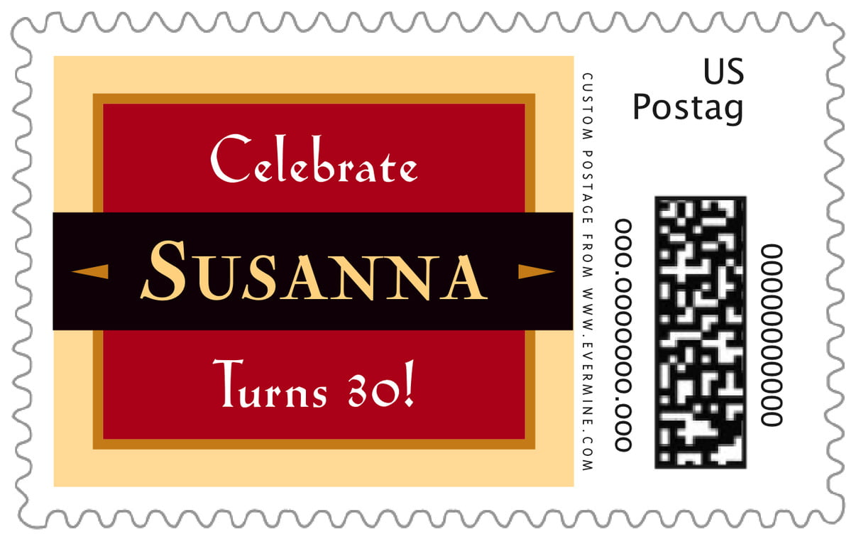 custom large postage stamps - red & gold - xenith (set of 20)